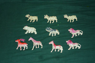 RARE 10pc Vintage Celluliod Blowmold Plastic Animals Lot Made in Japan