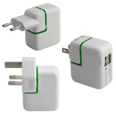 2.1 / 1A Port USB Portable Home / Travel Wall Charger UK/EU/US AC Power Adapter