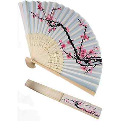 1xHand Delicate Japan Cherry Blossom Silk Folding Fan Cool In Summer Party Favor