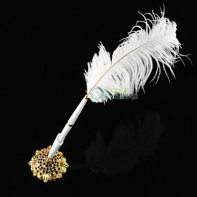 Wedding Bridal White Feather Quill Guest Signing Pen Gold Love Holder Set