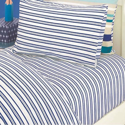 Boys Blue Stripe Fitted  Double Sheet and Extra Pillowcase