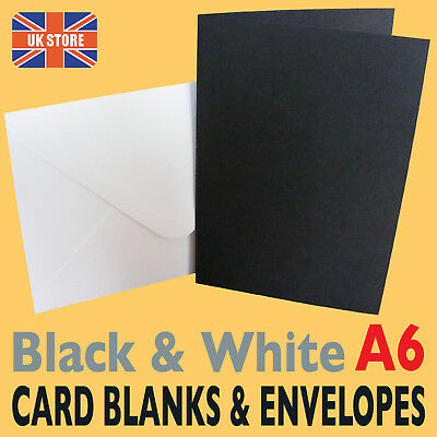 50 x A6 Black & White Wedding Card Blanks & Envelopes
