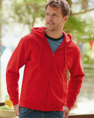 Fruit of the Loom MEN'S SWEAT JACKET ZIPPED HOODED HOODIE SWEATSHIRT COLOURS NEW