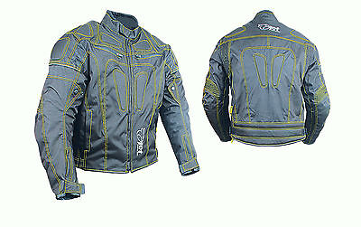Mens Motorcycle Motorbike Jacket Textile Short Racing Style Grey Colour