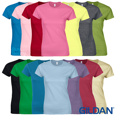 Gildan LADIES T-SHIRT PREMIUM SOFT COTTON FITTED TOP PLAIN SIZES 30 COLOURS NEW