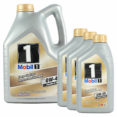 Mobil 1 0W-40 New Life Fully Synthetic Engine Oil 0W40 Mobil1 5 + 3x1L: 8 Litres