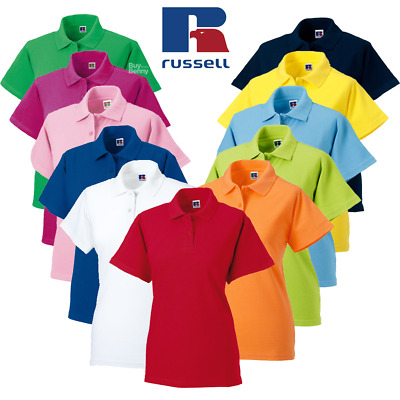 Russell Ladies Polo Shirt 100% Soft Cotton Classic Fit Smart Workwear Colours