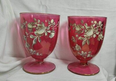 Vintage Set of 2 Footed Large Pink Colored Glass Cup Hand painted Flowers Roses