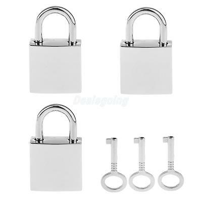 Lot of 3 Mini Square Padlock Tiny Luggage Bag Jewlery Box Lock Keys Siver