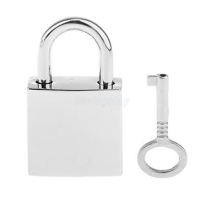1Pc Mini Square Padlock Tiny Luggage Bag Jewlery Box Lock Keys Silver