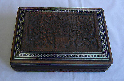 19th Century Anglo Indian Tree Of Life Ornately Carved Trinket Box