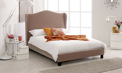 Luxury Fabric Wing Bed Frame Available in Double or King Size Beige Chenille