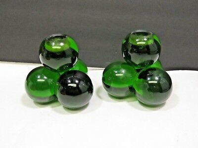 Vtg Pair Mid Century Green Acrylic Lucite Grape Cluster Candlestick Candle Holde