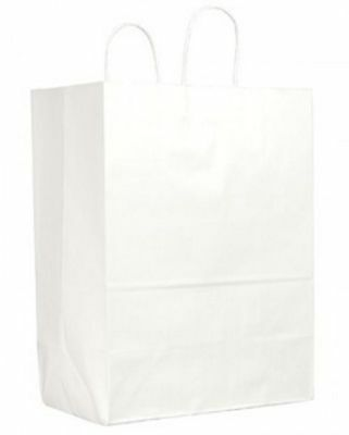 Duro 84642 65 lb Sup-R-Mart Shopping Bag w/Paper Twisted Handles, Wht, 250