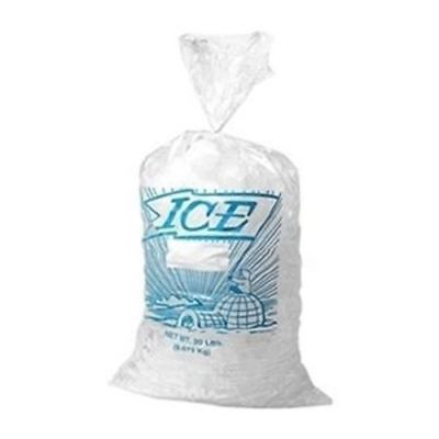 "Elkay 1.2 Mil 5 lb Metallocene Ice Bag, 9"" x 18"", Clear w/Print - Case of 1000"