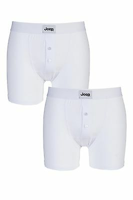 Mens 2 Pack Jeep Cotton Plain Fitted Button Front Trunk Boxer Shorts