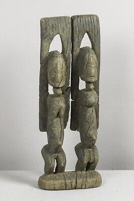 Old Dogon couple (Mali) - Wood statue - Figure - African, tribal art
