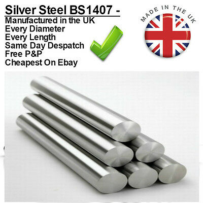 Metric Silver Steel Diameter Bar 100mm + 330mm Ground Round Shaft Rod BS1407