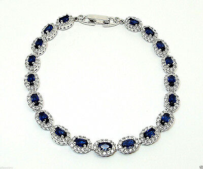 Solid 925 Hallmarked Italian Silver Oval Blue Sapphire Halo Bracelet 7.5 Inches
