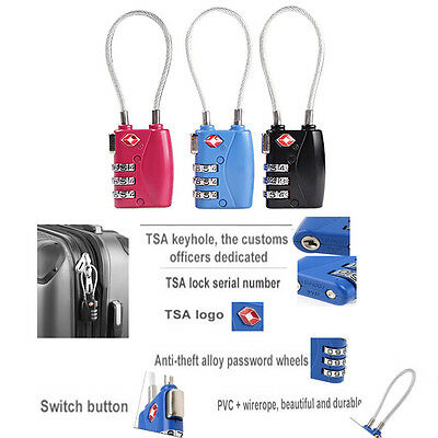 TSA 3 Digit Resettable  Lock Cable Luggage Travel Bag Suitcase Padlock US