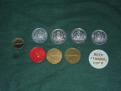 Lot of 9 Recovery Prayer Tokens 4 X 24Hrs 1 Month.....