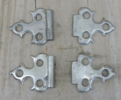 Antique Hearse/Casket Funeral Home Hardware, Pair of Small Metal Hinges, Pewter