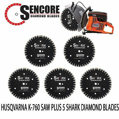 "NEW HUSQVARNA K760 + 5pk 14"" SHARK DIAMOND BLADE **FREE SHIPPING**"