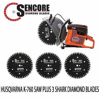 "NEW HUSQVARNA K760 + 3pk 14"" SHARK DIAMOND BLADE **FREE SHIPPING**"