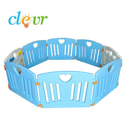 Blue Clevr 8 Large Panel Safety Baby Playard