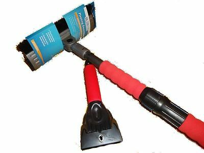 New Extendible Pivoting 5' Snow Broom/Ice Scraper Chisel -Just in Time 4 Winter-
