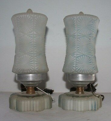 Antique pair frosted blue glass art deco bedroom table lamps auminum mirrored