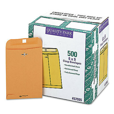 Quality Park Clasp Envelope #55 6 x 9 28lb Brown Kraft 500/Carton 37555