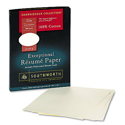 Southworth 100% Cotton Resume Paper 32 lbs. 8-1/2 x 11 Ivory Wove 100/Box