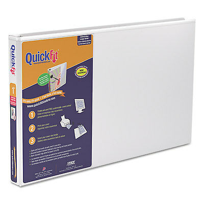 "Stride QuickFit Ledger D-Ring View Binder 1"" Capacity 11 x 17 White 94010"