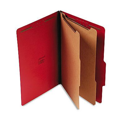 UNIVERSAL Pressboard Classification Folders Legal Six-Section Ruby Red 10/Box
