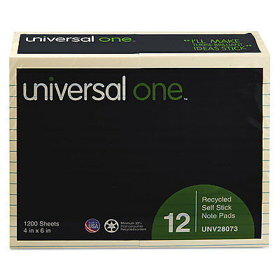 Universal One Recycled Sticky Notes 4 X 6 Lined Yellow; 12 100-Sheet Pads/Pack