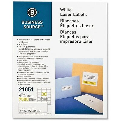 "Business Source Mailing Label Laser 1""x2-5/8"" 7500/PK White 21051"