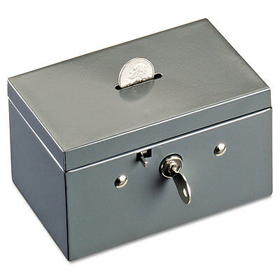 SteelMaster Small Cash Box with Coin Slot Disc Lock Gray 221533001