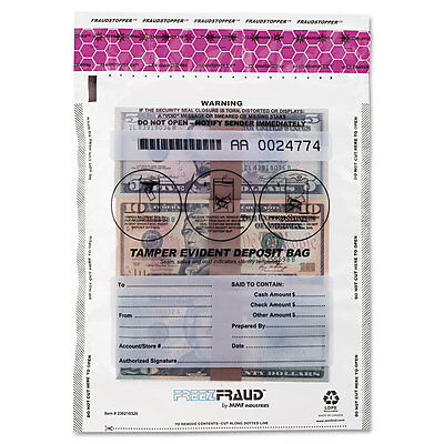 MMF Industries FREEZFraud Tamper-Evident Deposit Bags 9 x 12 Clear 100/Box