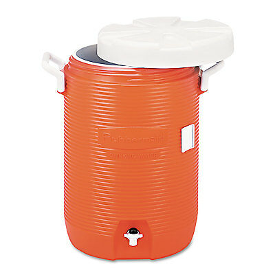 """Rubbermaid Commercial Insulated Water Cooler 5 Gal Orange 10""""Dia x 19 1/2""""H"""