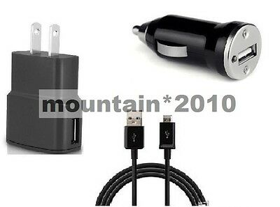 2 Amp Wall+1A Car Adapter+5 Feet Usb For Cricket Wireless Samsung Galaxy S6