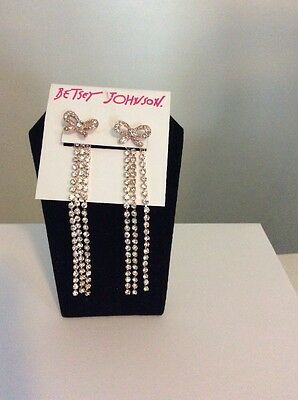"""$40 Betsey Johnson Jewelry Princess Charming"""" Pave Bow Rose Gold Tone BD 111"""
