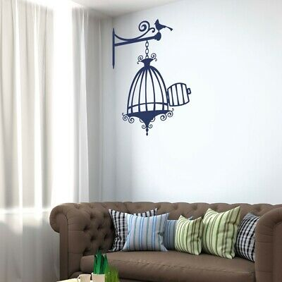 Opened Birdcage with Two Birds Vinyl Wall Decal for living room more K630