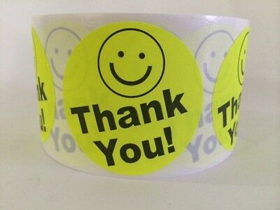"""1000 Thank You Smiley 2"""" Yellow Neon Best Price Thank You Labels 2"""" Shipping New"""