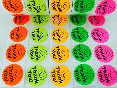 """1000 BIG THANK YOU LABEL SMILEY 2"""" STICKER Starburst Colors NEON FLUORESCENT NEW"""