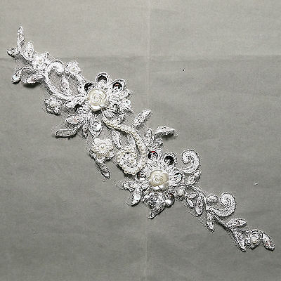 Off White Silver Thread Faux Pearl Rose Floral Sequin Embroidered Lace Applique