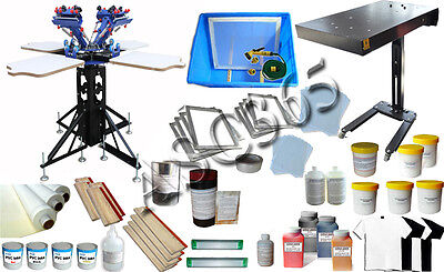 4 Color Screen Printing Press Kit 4 working Station Dryer Bundles Materials