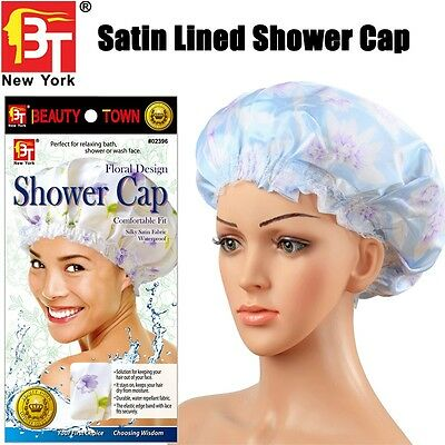 Beauty Town Brand Satin Lined Shower Cap Extra Large Thick Waterproof Bath Hat
