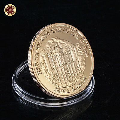 WR 24k Gold Plated Commomerative Coin New 7 Wonders of The World Petra - Jordan