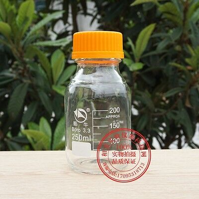 1PCS 250mL transparent Lab Glass Reagent bottle w cap heavy wall M3083 QL